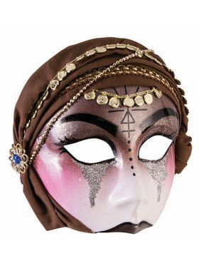 Fortune Teller Half Mask With Brown Scarf Accessory