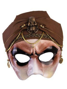 Fortune Teller Half Mask With Brown Scarf Male Accessory