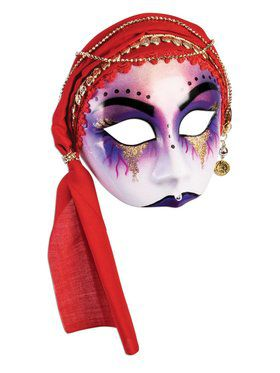 Fortune Teller Half Mask With Red Scarf Accessory