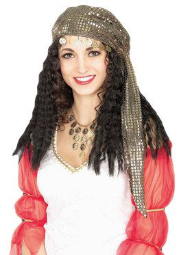Adult Fortune Teller Wig and Scarf Costume