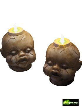 Fractured Doll Head Tealight Candle Set