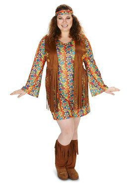 Plus Size Fringe 60s Costume For Adults
