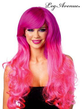 Fuchsia and Pink Cambria Two Tone Long Wavy Wig