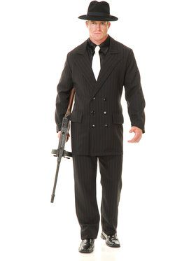 Gangster Double Breasted Suit (Black/Red) Adult Costume