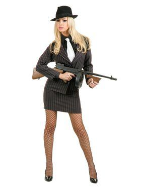 Women's Double-Breasted Gangster Moll Costume