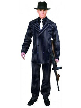 Plus Men's Wide Stripe Gangster Suit Costume