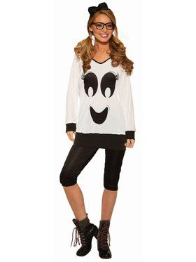 Ghostie Girl Shirt, Leggings and Bow Costume