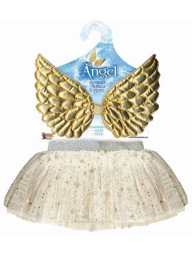 Girls Angel Classic Tutu and Wings Set