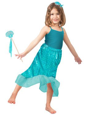Blue Mermaid Skirt Set Girls Costume