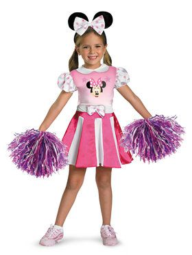 Girls Disneys Minnie Mouse Cheerleader Costume
