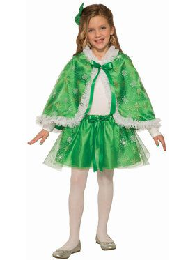 Girls Green Sparkle Cape