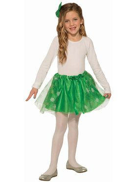 Girl's Classic Green Sparkle Skirt