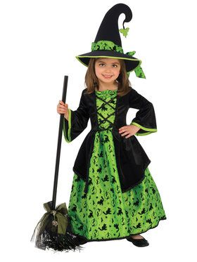 Green Witch Girls Costume