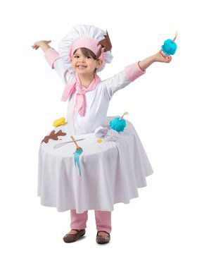Girls Messy Baker Table Top Child Costume