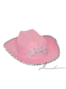 Girl's Pink Cowgirl Hat With Tiara Band
