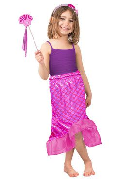 Pink Mermaid Skirt Set Girls Costume