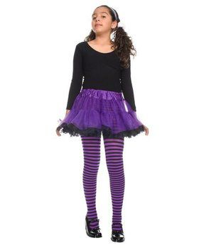 Girls Purple and Black Striped Tights