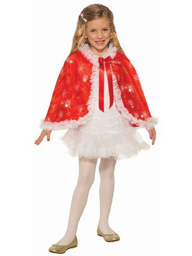 Girl's Classic Red Sparkle Cape