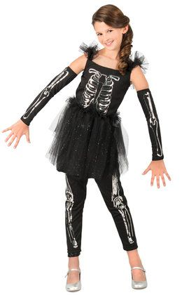 Sequin Skeleton Girls Costume