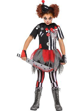 Girls Horror Clown Costume