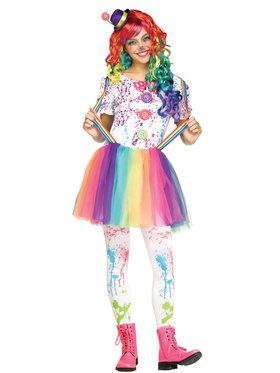 Girl's Teen Crazy Color Clown Costume