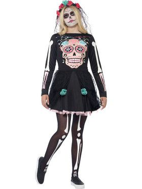 Girl's Teen Sugar Skull Sweetie Costume