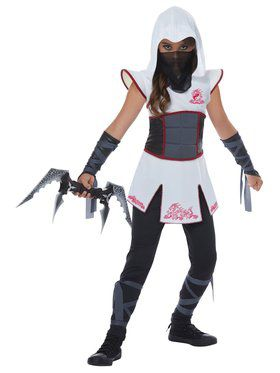 White Fearless Ninja Costume For Girls