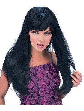 Black Glamour Wig for Adults