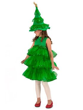 Girl's Christmas Tree Glitter Costume