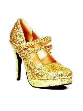 "Glitter Gold Mary Jane Show with 4"" Heel"