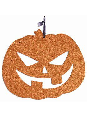 Glitter Jack O Lantern Plaque Decoration
