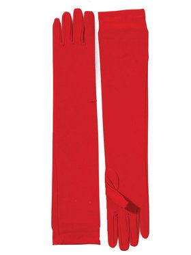 Long Nylon Red Accessory Gloves