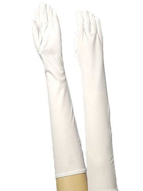 Gloves Long Nylon White Accessory
