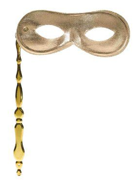 Gold Domino Mask on Stick