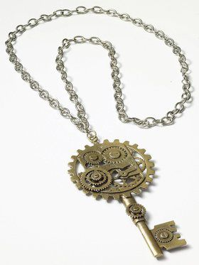 Gold Key and Gear Steampunk Necklace