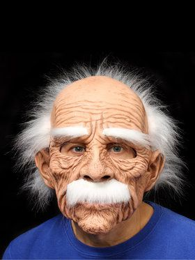 Grand Dad Full Mask w/ White Hair Eyebrows Mustache