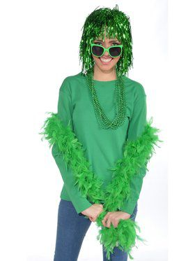 Womens Green Feather Boa