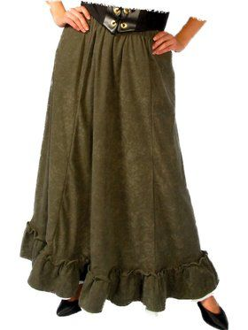 Green Renaissance Peasant Skirt for Women