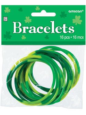 Green Rubber Bracelets (Pack of 16)