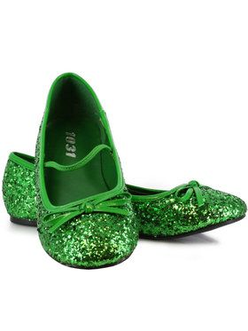 Green Sparkle Flat Shoes For Children