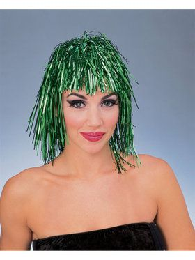 Green Tinsel Adult Wig