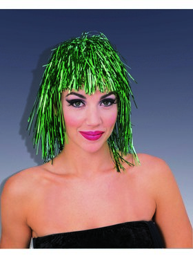 Shiny Green Tinsle Wig
