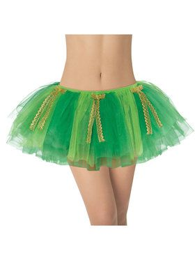 Adult Green with Gold Ribbon Tutu For Adults