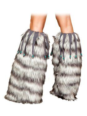 Grey Leg Warmers with Beaded Trim Adult