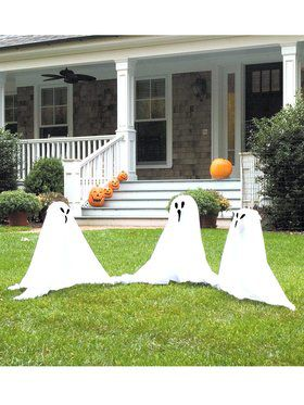 Group of Ghostly Lawn Ornaments