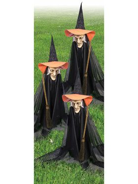 group of witchly lawn ornaments - Outdoor Halloween Props