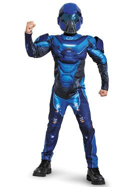 Halo Blue Spartan Classic Muscle Chest Boys Costume