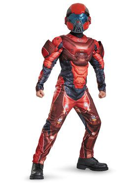 Halo Red Spartan Classic Muscle Chest Boy's Costume