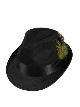 Hip Hop Felt Hat with Feather Adult