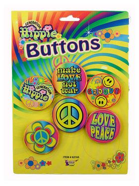 Hippie Buttons Set of Six